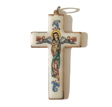Vintage Copper Enameled Cross Pendant Hand Painted Mary Christ Child Religious