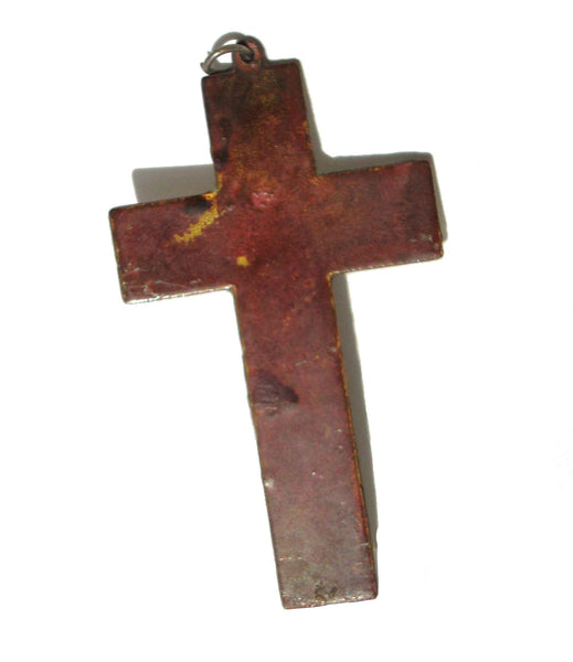 Back of Vintage Copper Enameled Cross Pendant