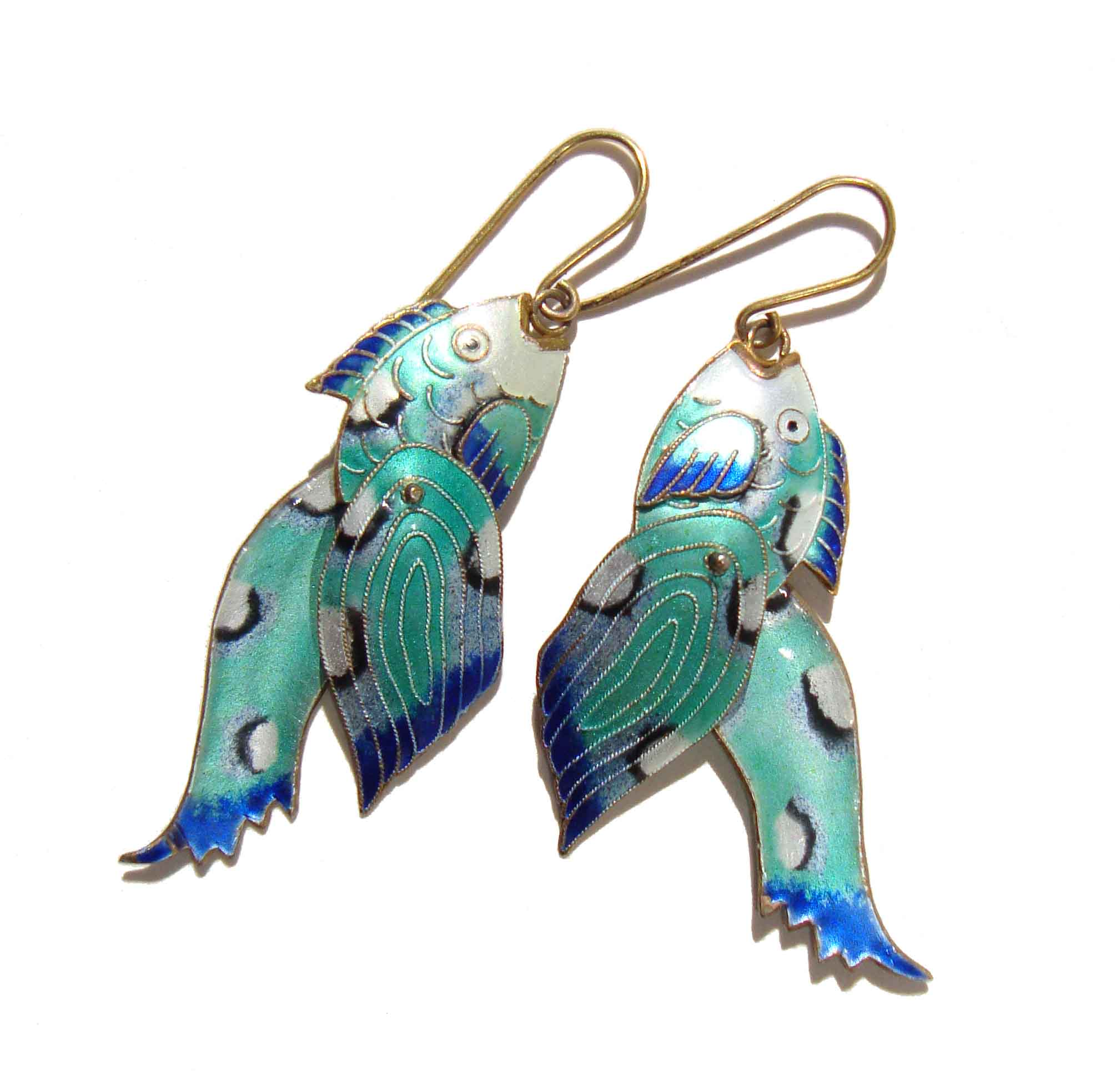 Zarah Fish Earrings Blue Cloisonné Enamel