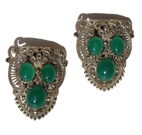 30s Art Deco Dress Clips Chrysoprase Glass & Marcasite Brooch – Set of 2