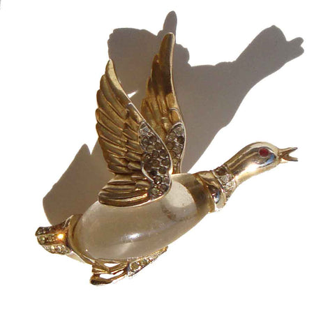 Vintage Coro Jelly Belly Brooch Flying Duck Mallard Goose Pin ADOLF KATZ