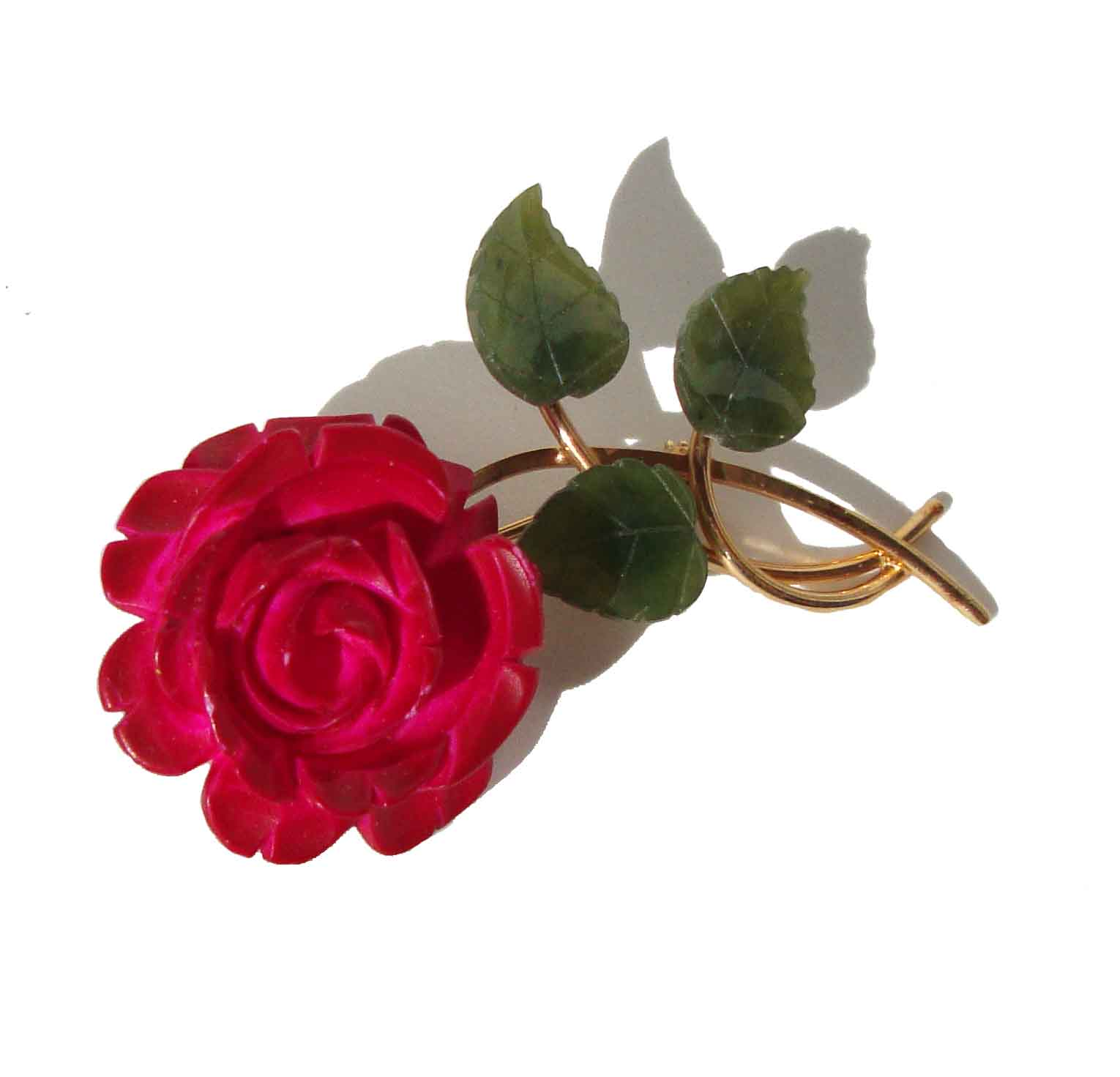 Vintage Van Dell Brooch Carved Red Rose Flower & Jade Pin
