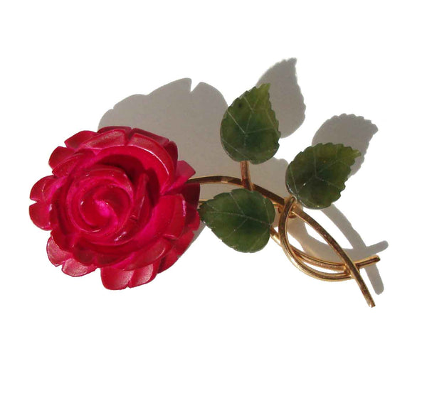60s Van Dell Brooch Carved Red Rose Flower & Jade Pin