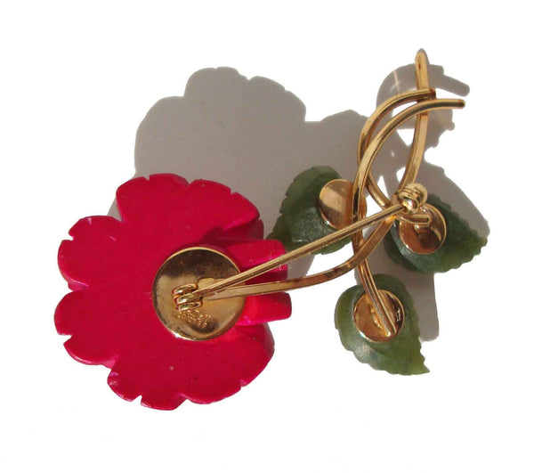 Back of Vintage Van Dell Brooch Carved Red Rose Flower & Jade Pin