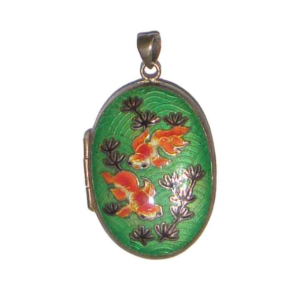 Chinese Export Goldfish Cloisonne Locket