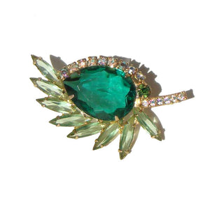 Vintage Juliana Leaf Brooch D&E Green Rhinestone Cocktail Pin