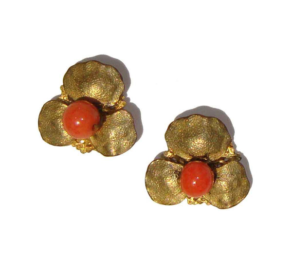 Vintage Miriam Haskell Earrings Coral Bead Post Backs
