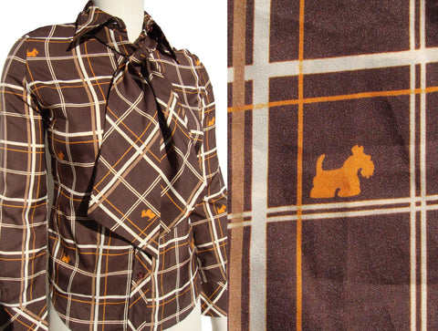Vintage 70s Scottie Blouse Scotty Dog Novelty Print Shirt S