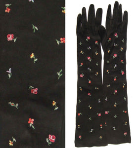 Vintage 50s Gloves Helene Dale Black Suede Floral Embroidered Full Length S