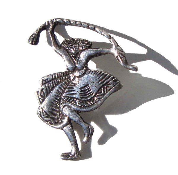 Vintage Sterling Peruvian Snake Dancer Brooch Pin