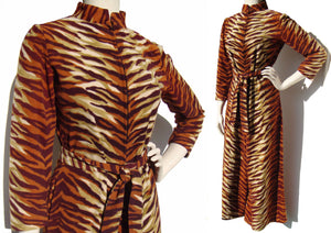 Vintage Lounging Jumpsuit Tiger Print Pantdress Palazzo Pants S / M