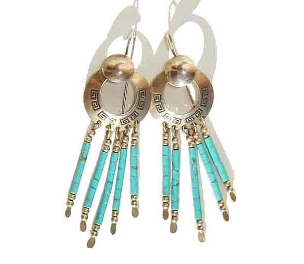 Vintage Hopi Earrings Sterling & Turquoise Heishi