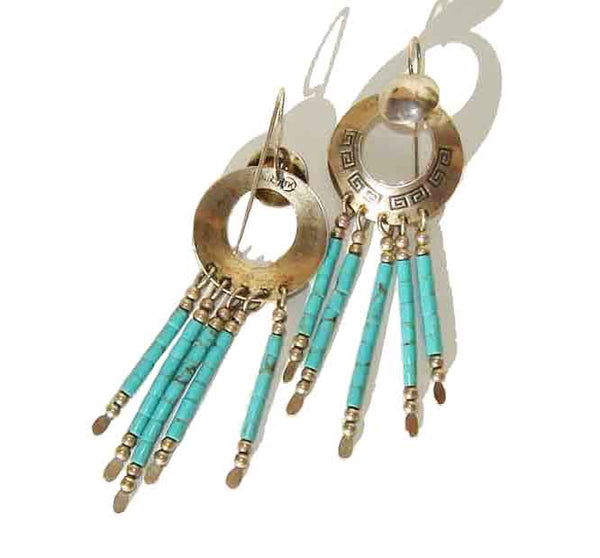 Signed Hopi Turquoise Earrings