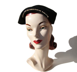 Vintage Ladies Beret Asymmetric Modernist Hat Black & Pearl Trim by Merrimac