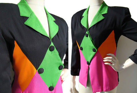 80s Harlequin Jacket Memphis Design Group Color Block Blazer M