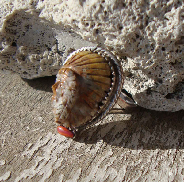 50s Navajo Ring Sterling Silver Petrified Wood & Spondylus Indian Sioux Chief Sz 6