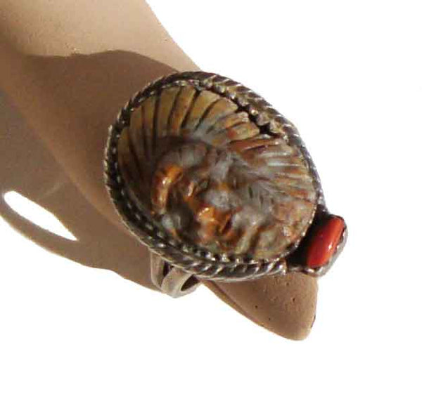 Metro Retro Vintage Indian Chief Ring