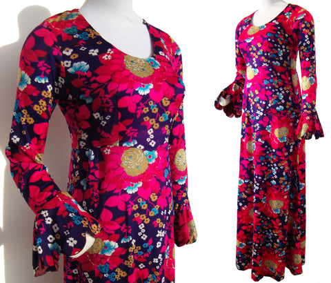Vintage hippie dress with flutter sleeves