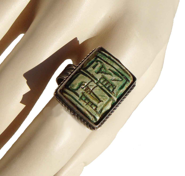 Vintage Egyptian Revival Silver Faience Ring