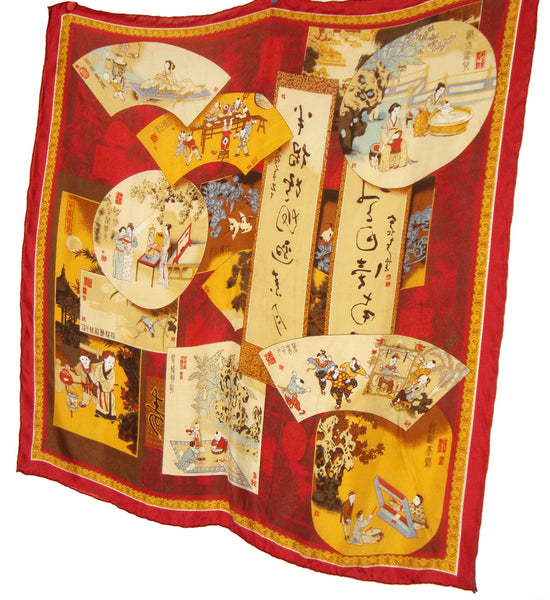 Chinese Novelty Print Scarf