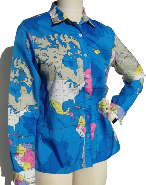 Vintage World Map Ladies Shirt