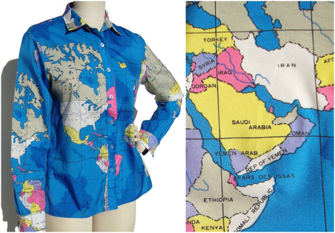 Vintage World Map Blouse