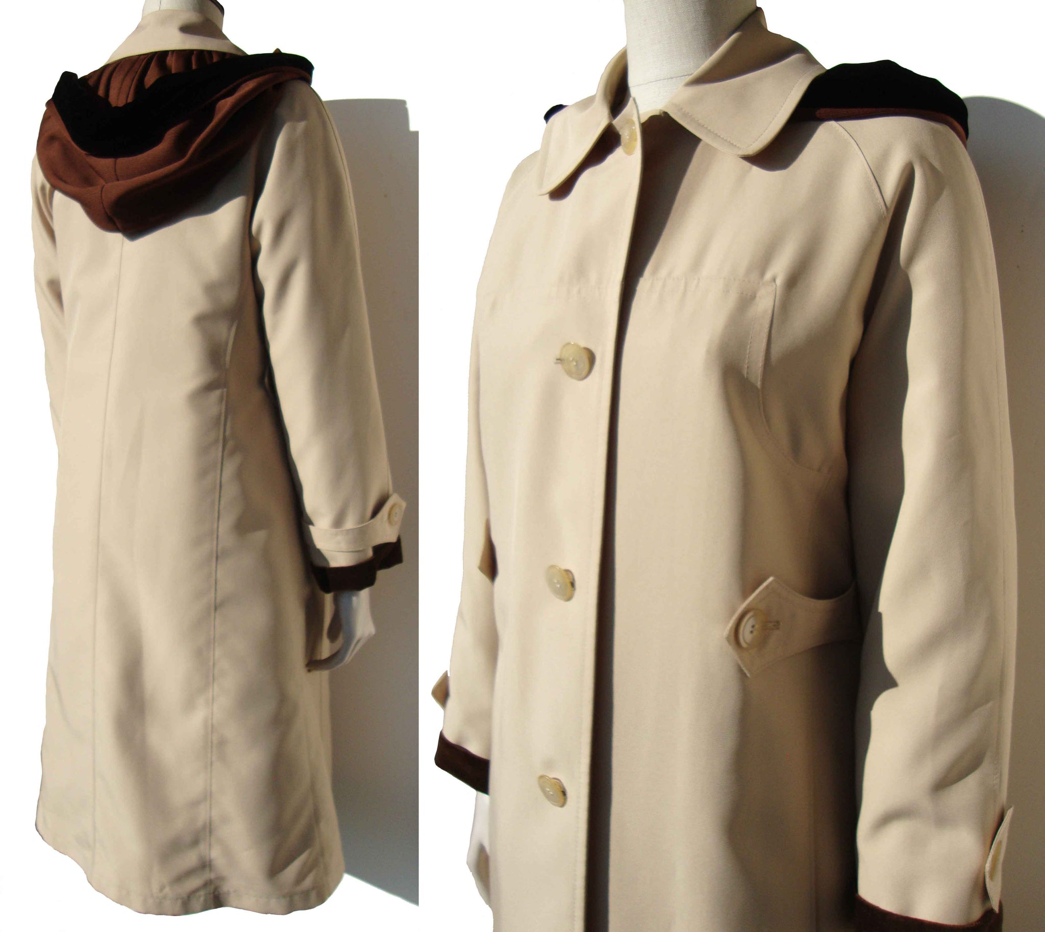 Vintage Trench Coat Misty Harbor Spy Girl Raincoat M