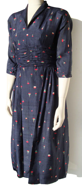 1940s Silk Dress - Metro Retro Vintage