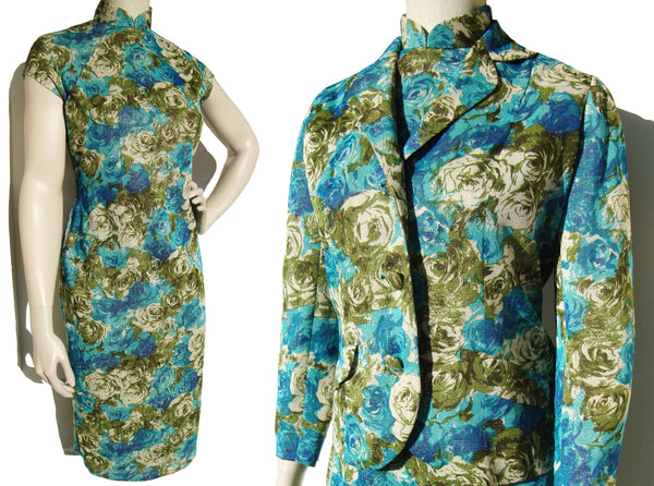 Vintage 60s Qipao Dress & Jacket Blue Rose Lamé Cheongsam Set M
