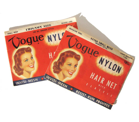Vogue 50s Hair Nets & Chignon Net Blonde & Brown Hair Deadstock