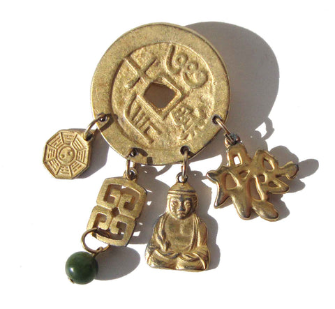 Vintage Chinese Coin Brooch w/ Good Luck Charms Pin