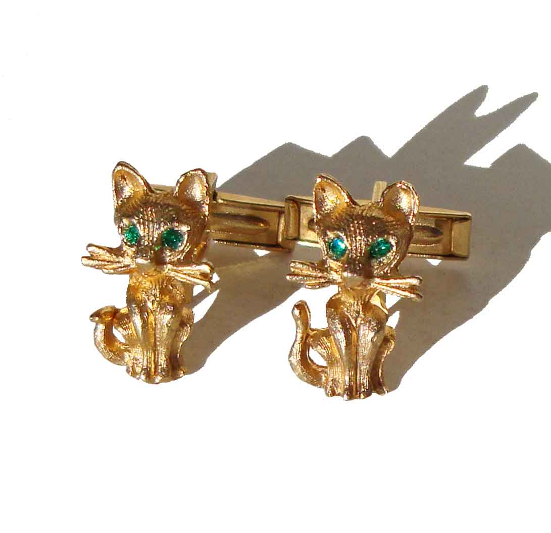 Vintage Kitty Cat Cufflinks Womens Girls Modernist Cuff Links