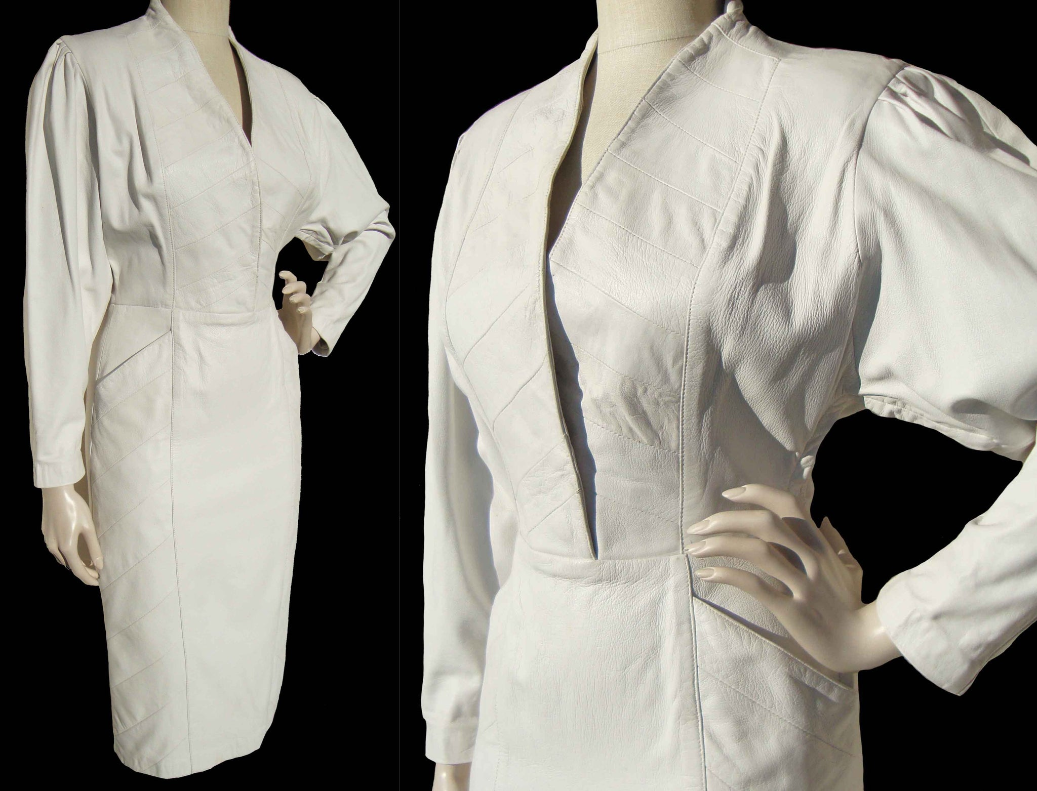 Vintage 80s Dress White Leather Disco Sheath