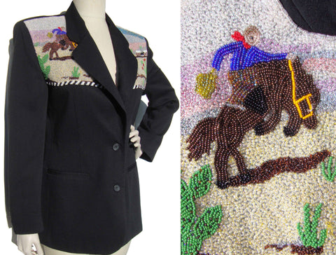 Vintage 90s Beaded Jacket Ladies Western Beadwork Blazer Sum-Es M