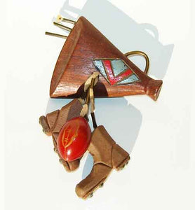 Martha Sleeper Bakelite & Wood Football Brooch