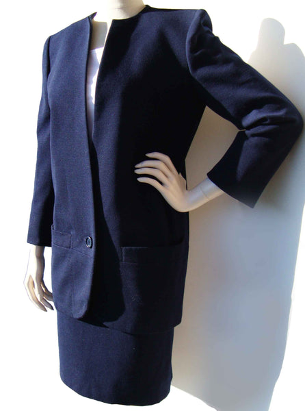 Vintage 80s Dior Suit Ladies Numbered Couture Navy Blue Wool Jacket & Skirt Set M