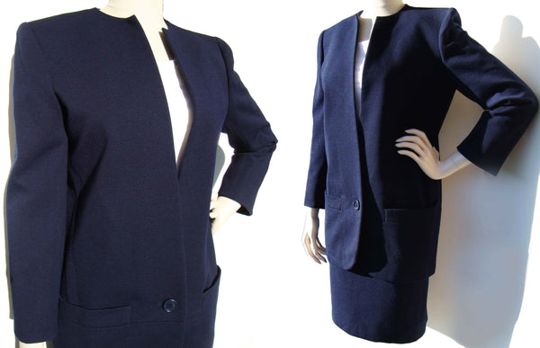 Vintage Dior Printemps 1986 Suit Couture Navy Blue Wool Set M