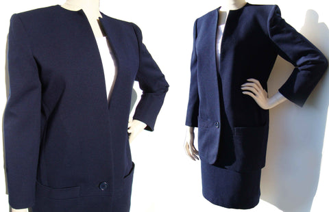 80s Dior Suit Ladies Numbered Couture Navy Blue Wool Jacket & Skirt Set M