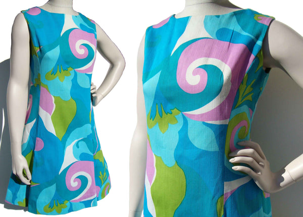 60s Mod Hawaiian Dress Pop Art Turquoise & Lavender Sundress