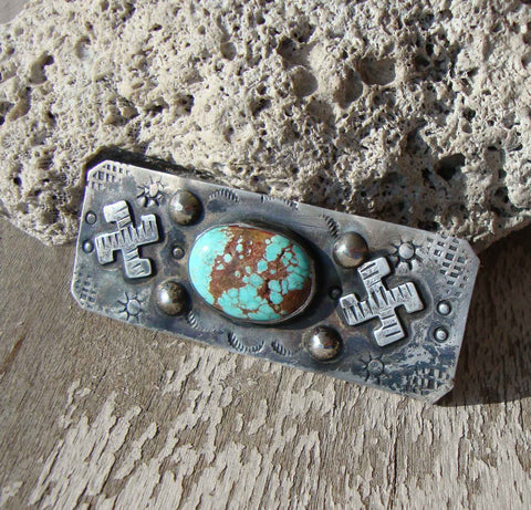 30s Navajo Sterling Silver & Turquoise Brooch