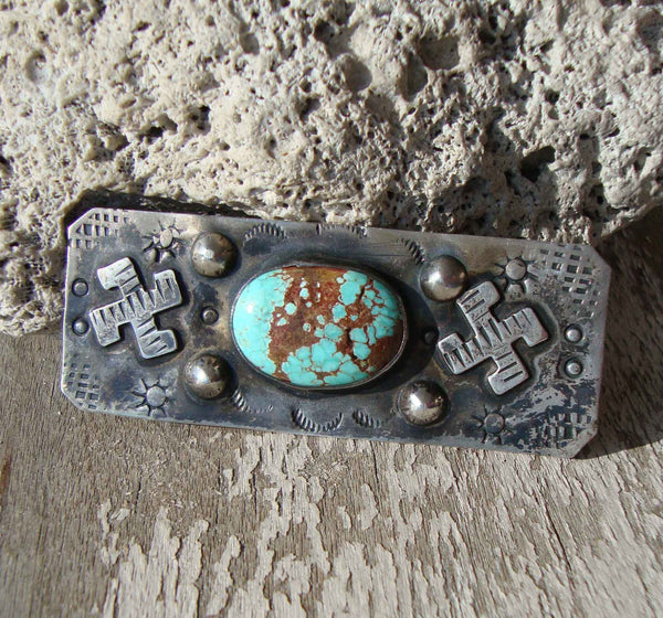 Fred Harvey Era Sterling & Turquoise Brooch Pin