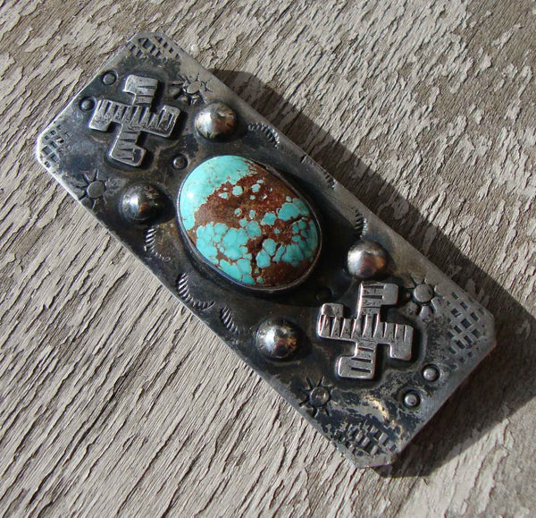 Southwestern Whirling Logs Indian Silver & Turquoise Pin
