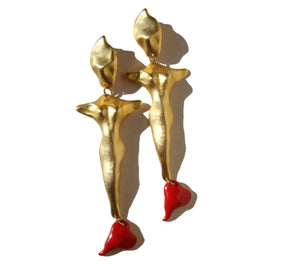 90s Figural Earrings Shoulder Sweeper 6 Inches Novelty Nudes & Hearts