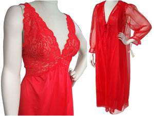 70s Barbizon Red Peignoir Negligee Lingerie Nightgown & Robe