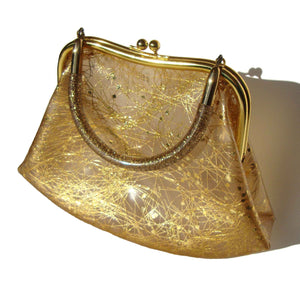 Mod Handbag Lucite Handle Gold Dust Confetti