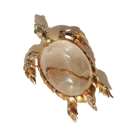 Vintage 40s Trifari Jelly Belly Turtle Brooch