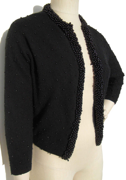 60s Beaded Black Wool Sweater