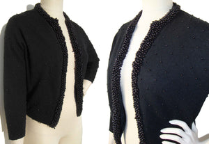Vintage Beaded Sweater Rockabilly Black Lambs Wool Cardigan