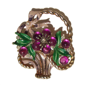 40s Coro Flower Basket Brooch