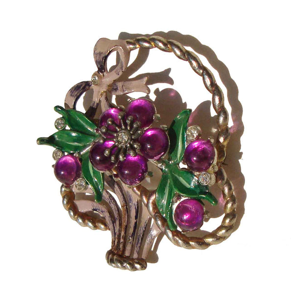Vintage Coro Purple Flower Basket Brooch
